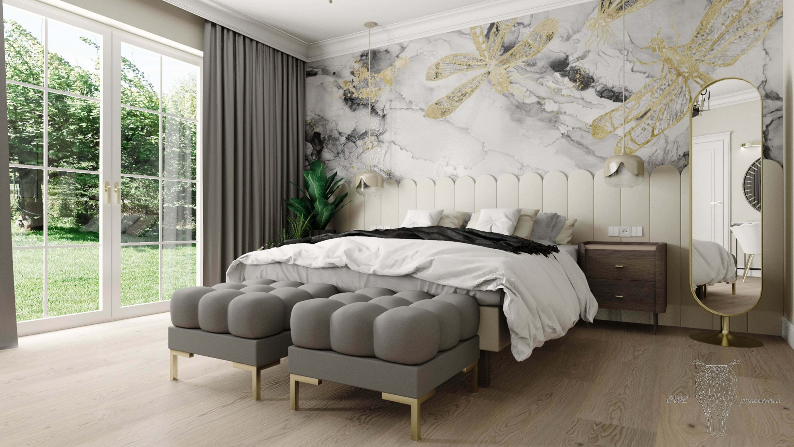 Elegancka sypialnia w stylo glamour OWLpracownia