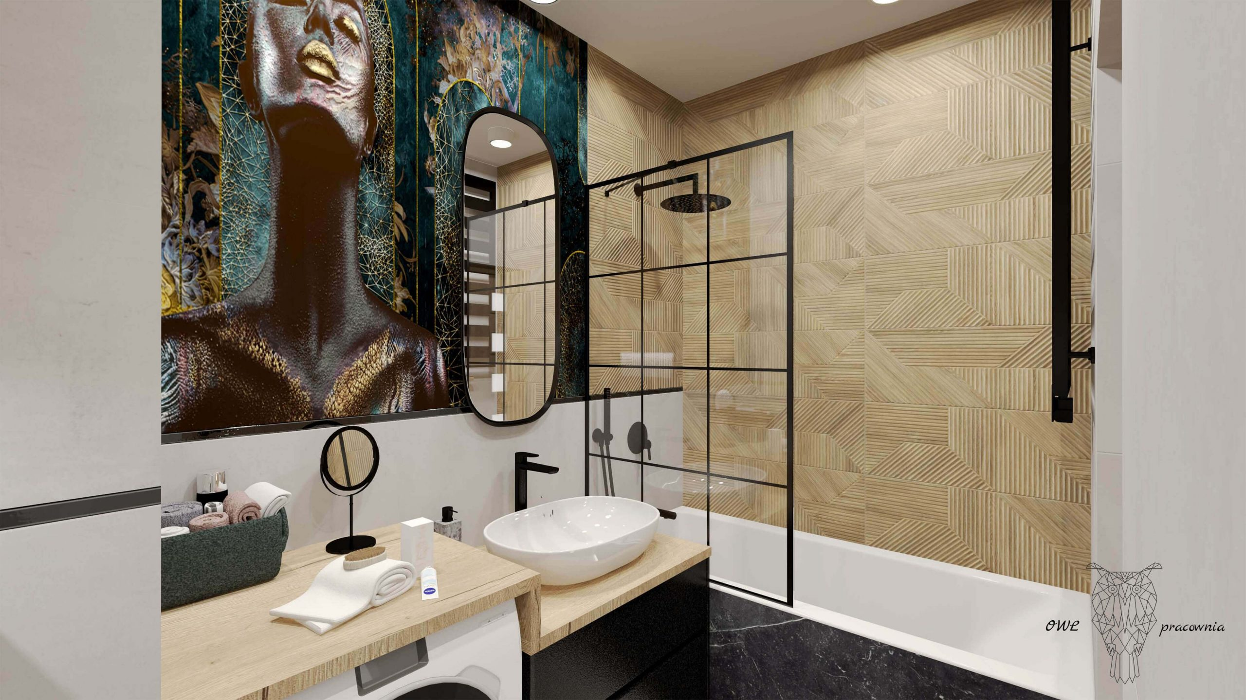 Odważna nowoczesna mała łazienka OWLpracownia