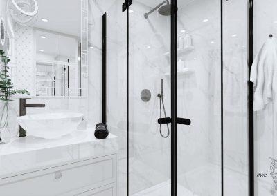 Biała marmurowa elegancka łazienka OWLpracownia